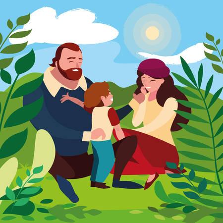 parents with son family in sunny landscape vector illustration design Illusztráció