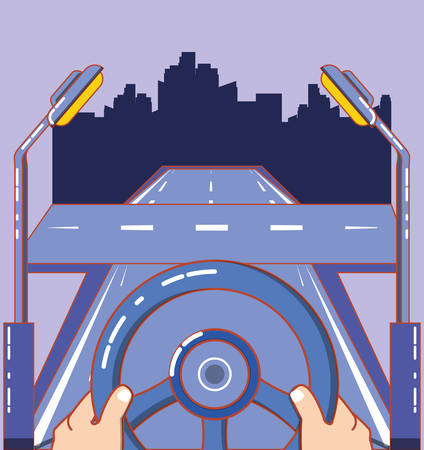 hands on steering wheel and road over purple background, colorful design. vector illustration Vettoriali