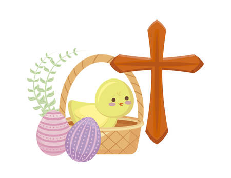 cute chicken with basket wicker with eggs easter vector illustration design Ilustracja