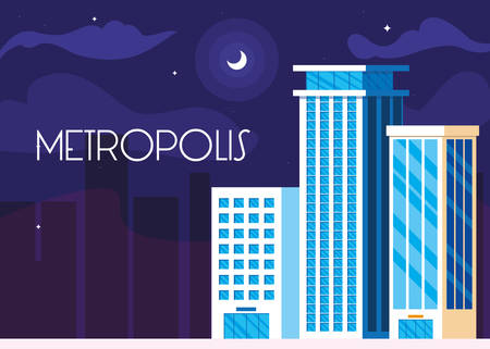 metropolis cityscape buildings night scene vector illustration design