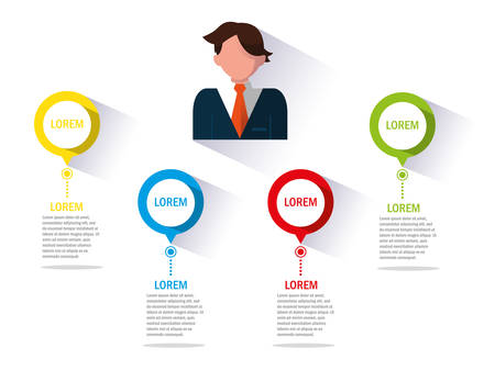 businessman with infographic and pointers vector illustration design Zdjęcie Seryjne - 134557396