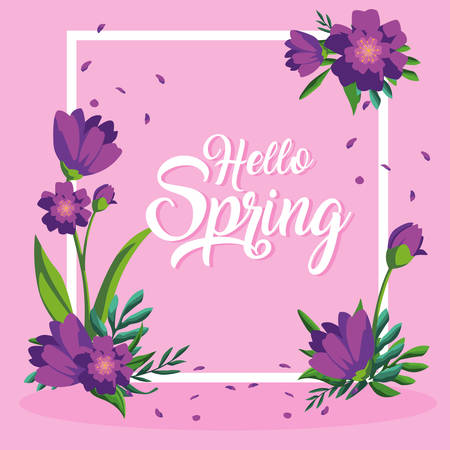 hello spring card with beautiful flowers in frame vector illustration design