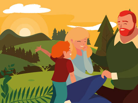parents with children family in day landscape vector illustration design