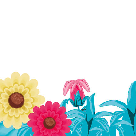 frame with beautiful flowers with leafs nature vector illustration design