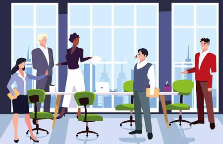 Gruppe von Personen, die im Arbeitsbüro tätig sind, koordinierte Arbeit in einem freundlichen Team im Bürovektor-Illustrationsdesign