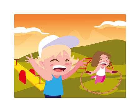 children smiling and playing with skipping rope vector illustration design