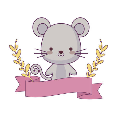cute mouse animal with ribbon and branches of leafs vector illustration design Ilustracja