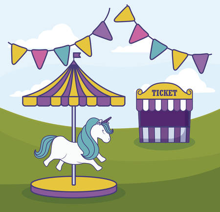 tent sale ticket with carousel and garlands vector illustration design Иллюстрация