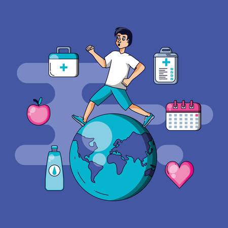 man athletic running with set icons vector illustration design Zdjęcie Seryjne - 134557912