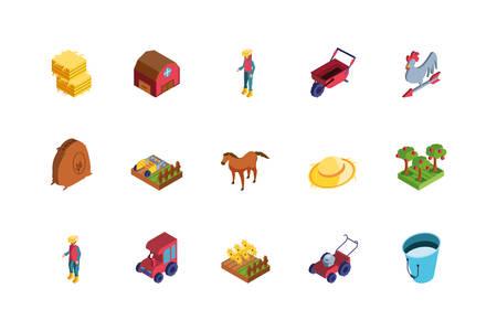 set of icons of farm on white background vector illustration design