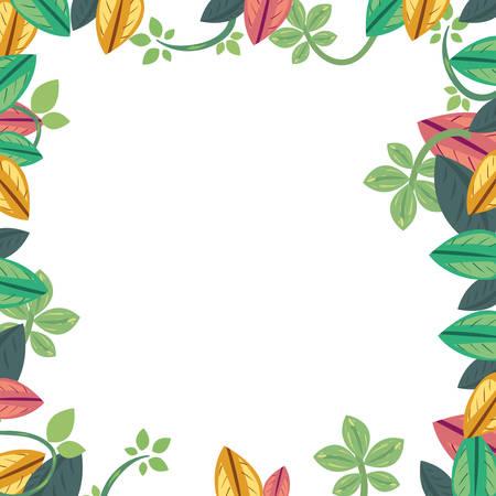 leaves foliage nature frame background vector illustration