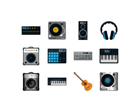 music and sound icon set pack, High Quality variety symbols Vector illustration