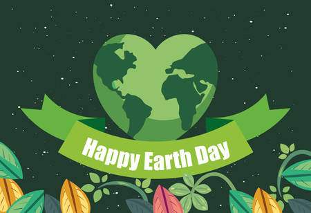 world shaped heart foliage happy earth day vector illustration Ilustracja