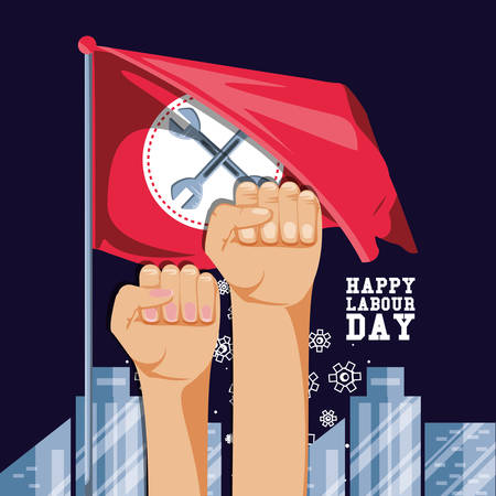 happy labour day with hands fist and flag vector illustration design