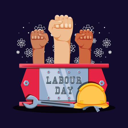 labour day celebration with hands fist and tools vector illustration design
