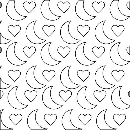 pattern of moons and hearts love vector illustration design 向量圖像