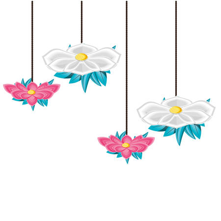 beautiful flowers with leafs hanging vector illustration design Ilustracja