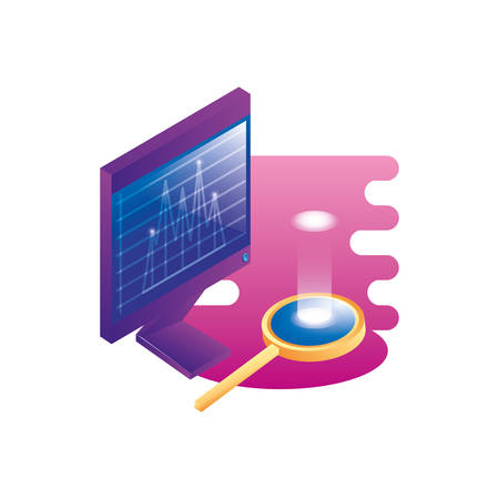 desktop computer with magnifying glass vector illustration design Zdjęcie Seryjne - 134559074