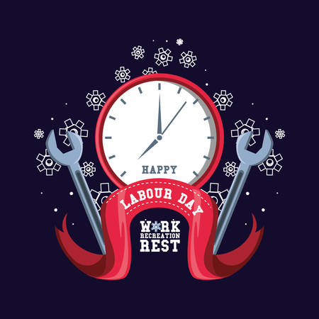 happy labour day with clock and tools vector illustration design