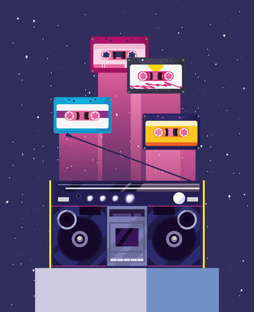 boombox stereo cassette tapes music retro 80s style vector illustration