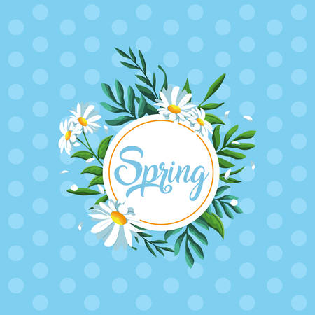 hello spring card with beautiful flowers in frame circular vector illustration design Ilustracja