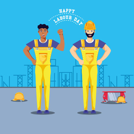 happy labour day with construction workers vector illustration design
