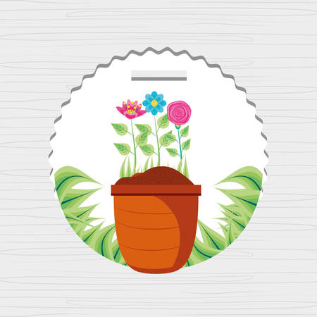 beautiful flowers nature with leafs vector illustration design