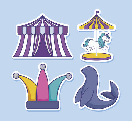 circus tent with set icons of circus vector illustration design