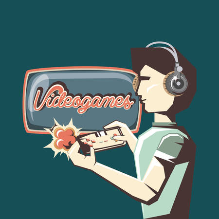retro videogames design with avatar man with headphones and gamepad over blue background, colorful design. vector illustration