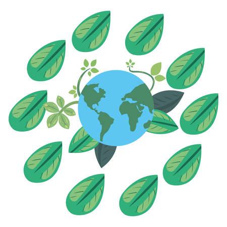 world frame leaves earth day vector illustration Ilustracja