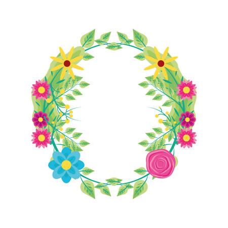 crown of beautiful flowers naturals vector illustration design