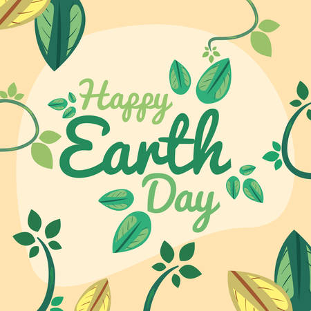 handwritten inscription branch leaves happy earth day vector illustration