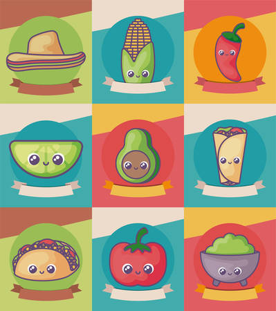 bundle mexican foods kawaii style vector illustration design