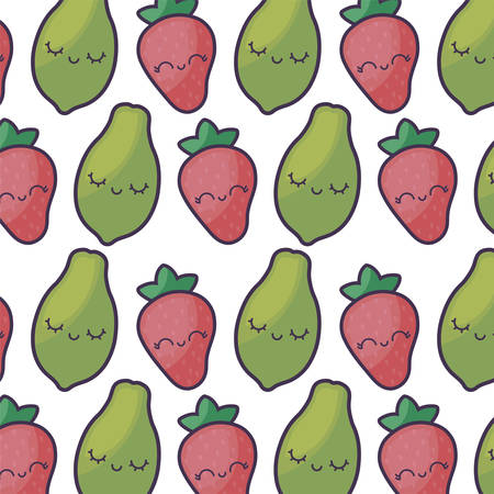 pattern of strawberries with papayas kawaii character vector illustration design