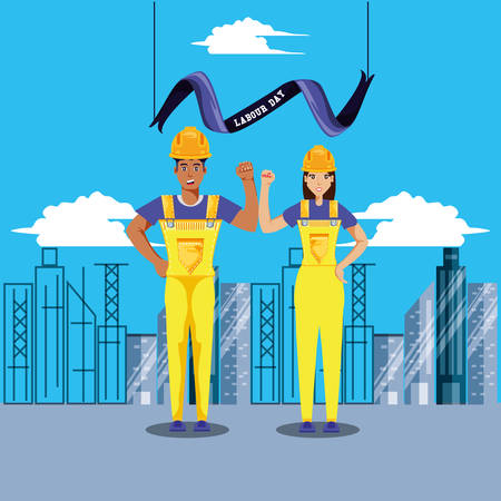 labour day celebration with construction workers vector illustration design