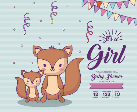 Baby shower invitation with its a girl concept with cute squirrels over blue background, colorful design. vector illustration 向量圖像
