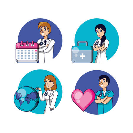 group of doctors with set icons vector illustration design Zdjęcie Seryjne - 134566035