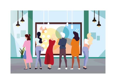 groupe de personnes dans une galerie d'art contemporain, visiteurs de l'exposition regardant des peintures abstraites modernes conception d'illustration vectorielle Vecteurs