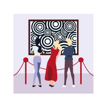 group of people in contemporary art gallery, exhibition visitors viewing modern abstract paintings vector illustration design Vectores