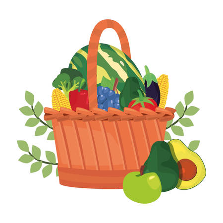 vegetables and fruits branches fresh food wicker basket vector illustration Ilustracja