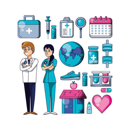 professional surgeons with set icons vector illustration design Zdjęcie Seryjne - 134573314