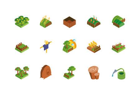 set of icons of farm on white background vector illustration design Ilustración de vector