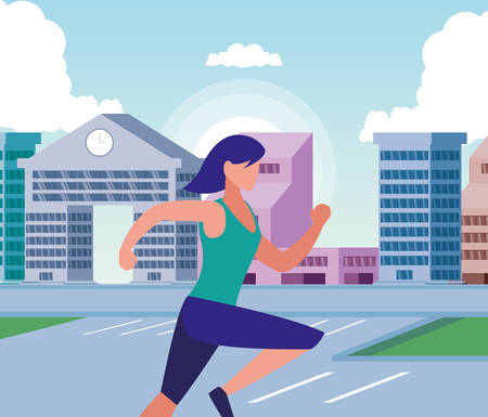 Woman running outside design, Healthy lifestyle Fitness bodybuilding bodycare activity and exercisetheme Vector illustration 向量圖像