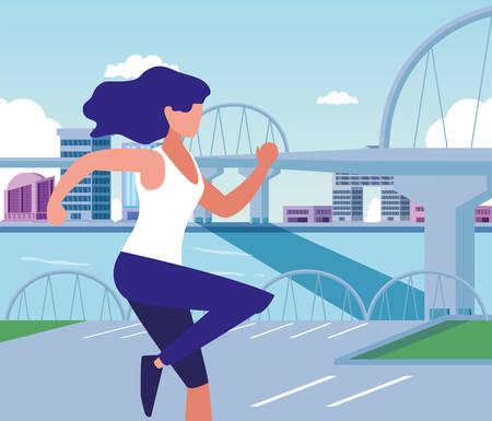 Woman running outside design, Healthy lifestyle Fitness bodybuilding bodycare activity and exercisetheme Vector illustration Standard-Bild - 134577198