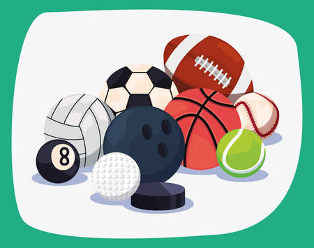volleyball bowling baseball billiard basketball rugby tennis golf soccer sport balls equipment vector illustration