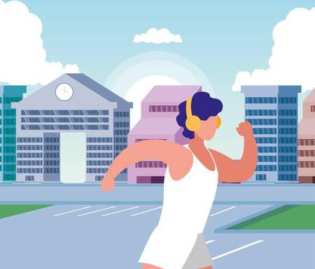 Man running outside design, Healthy lifestyle Fitness bodybuilding bodycare activity and exercisetheme Vector illustration Standard-Bild - 134577273