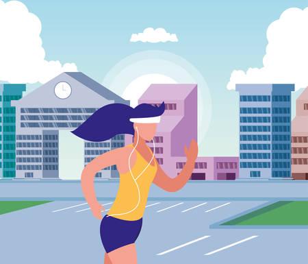 Woman running outside design, Healthy lifestyle Fitness bodybuilding bodycare activity and exercisetheme Vector illustration Standard-Bild - 134578075