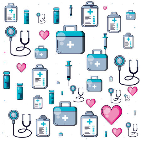 pattern of stethoscopes with first aid kit and icons of medicine vector illustration design Zdjęcie Seryjne - 134578098