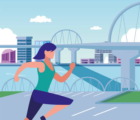 Woman running outside design, Healthy lifestyle Fitness bodybuilding bodycare activity and exercisetheme Vector illustration Standard-Bild - 134578101