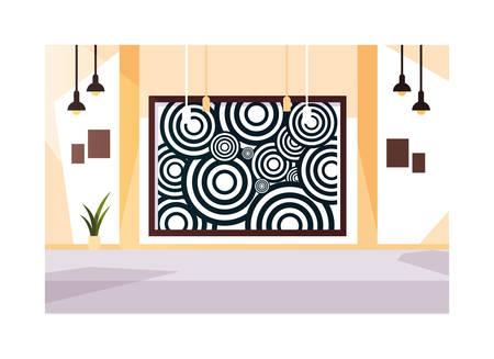 Sala de exposiciones, galería de arte sobre fondo blanco, diseño de ilustraciones vectoriales